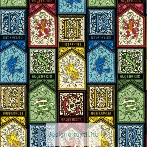 Harry Potter ólomüveg mintás pamutvászon méteráru - (Harry Potter Stained Glass)