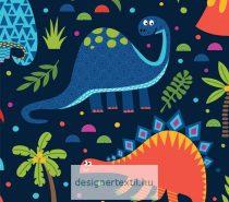 Dínók - sötétkék - designer pamutvászon méteráru (Dino Word)