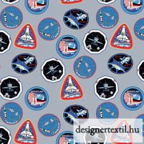 NASA Űrhajók pamutvászon (Nasa Patches Gray - Riley Blake)