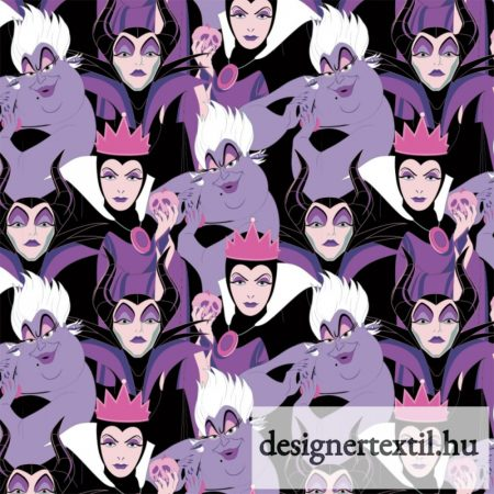 Disney Gonoszok pamutvászon (Purple Disney Diabolical Villains)