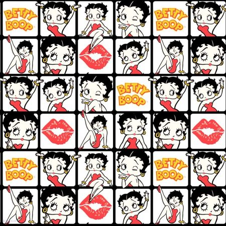 Betty Boop pamutvászon méteráru - Betty Boop Kissed Tiles Camelot Fabric