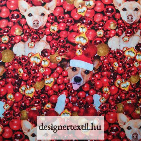 Karácsonyi kutyusok - pamutvászon (Xmas Dogs Digital Cotton)