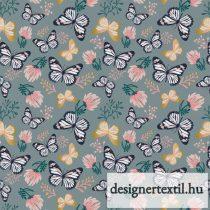 Pillangós pamutvászon (Slate Metallic GM Butterfly)