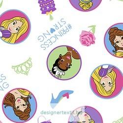 Hercegnős pamut jersey (Disney Princess Strong)