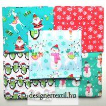Karácsonyi pamutvászon kövér negyed csomag (Santa & Friends Fat Qarter)
