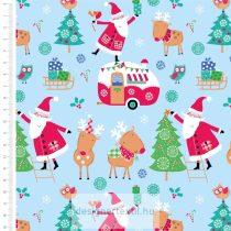 Mikulás és rénszarvasok pamutvászon méteráru (Santa & Reindeer Christmas)