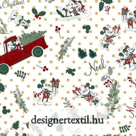 Mickey egér karácsonyi pamutvászon (Disney Christmas - Mickey & Minnie)