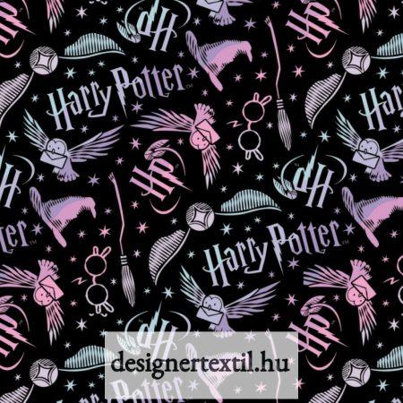 Harry Potter kellékek flanel - Black Harry Potter Tossed Elements Flannel