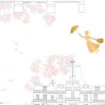 Mary Poppins pamutvászon - (Mary Poppins - Toile White Metallic)
