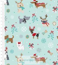 Dogs Mint (Freddie & Friends Christmas) - designer quilt cotton
