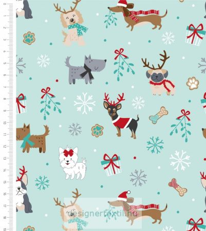 Karácsonyi kutyusok- designer pamutvászon méteráru (Freddie & Friends Christmas)