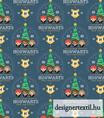 Harry Potter Roxfort karácsonyi pamutvászon - (Hogwarts Christmas – Harry Potter )