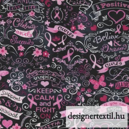 A remény rózsaszín szalagja - pamutvászon (Black Pink Ribbon)