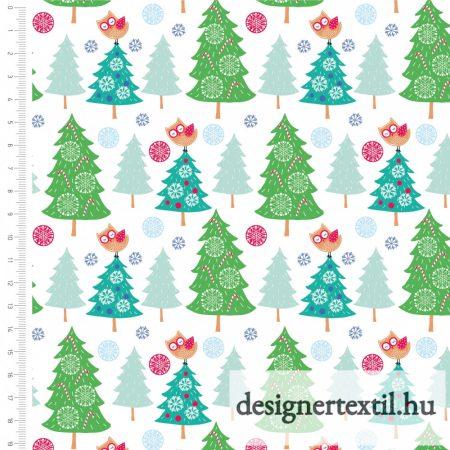 Karácsonyfa baglyokkal - pamutvászon (SANTA & REINDEER CHRISTMAS - Christmas Tree)
