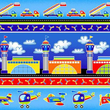 Kék repülőtér pamutvászon - Blue Airport Stripe