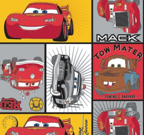 Verdák pamutvászon (Disney Cars - Main Characters in Block Camelot Fabric)