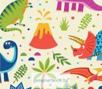 Dínók - krém - designer pamutvászon méteráru (Dino Word)