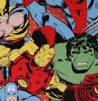 Marvel Comics Action Royal patchwork cotton by Camelot Fabric