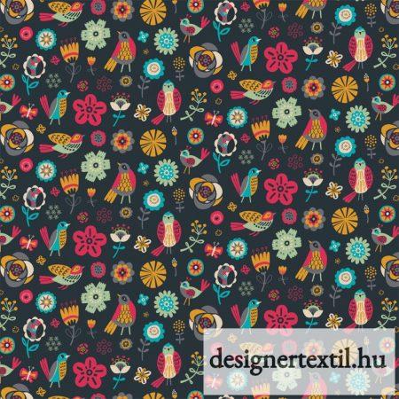 Grafit madarak és virágok pamutvászon (Graphite Bird & Flowers)