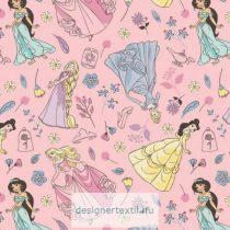 Pink Hercegnők flanel méteráru - (Pink Charming Princesses Flannel)