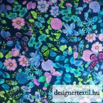 Virágok és pillangók pamutvászon (Blue Floral Butterflies Digitally Printed)