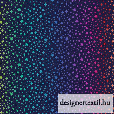 Szivárványszín csillagok pamutvászon (Nearly Black Rainbow Sparkles)