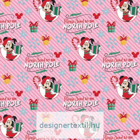 Minnie egér karácsonyi pamutvászon (Pink Minnie Mouse Christmas North Pole)