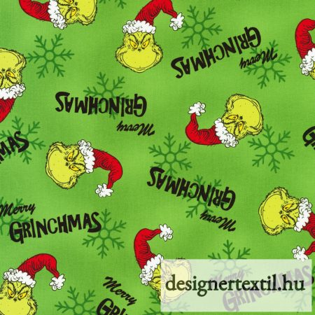 Grinch pamutvászon (Green Dr. Seuss How the Grinch Stole Christmas)