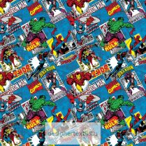 Marvel Comics Burst Blue patchwork cotton by Camelot Fabric
